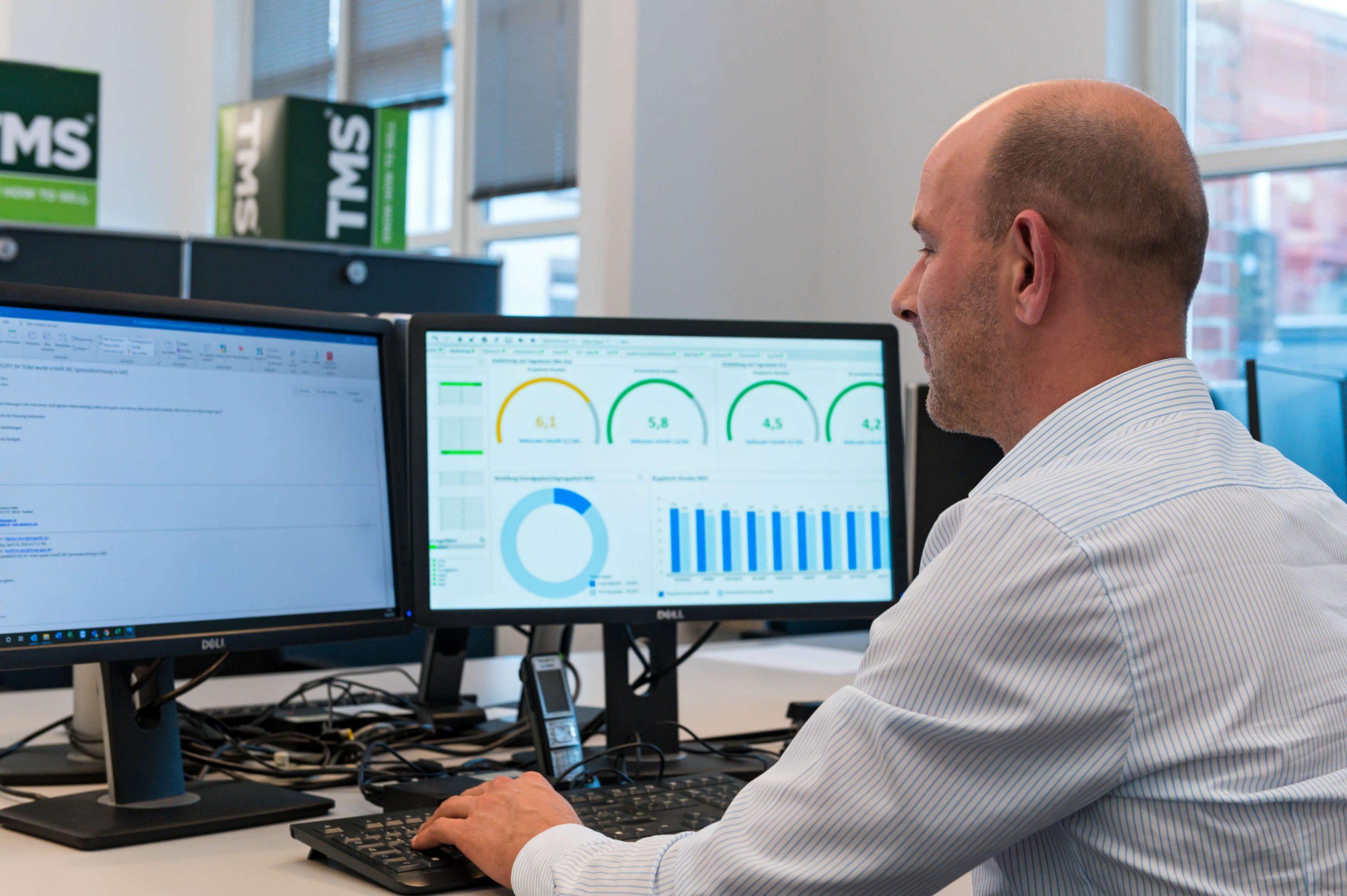Ein Mann wertet Daten für Business Intelligence aus